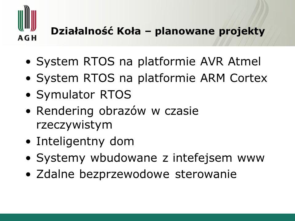 Działalność Koła – planowane projekty System RTOS na platformie AVR Atmel System RTOS na platformie ARM Cortex Symulator RTOS Rendering obrazów w czasie rzeczywistym Inteligentny dom Systemy wbudowane z intefejsem www Zdalne bezprzewodowe sterowanie
