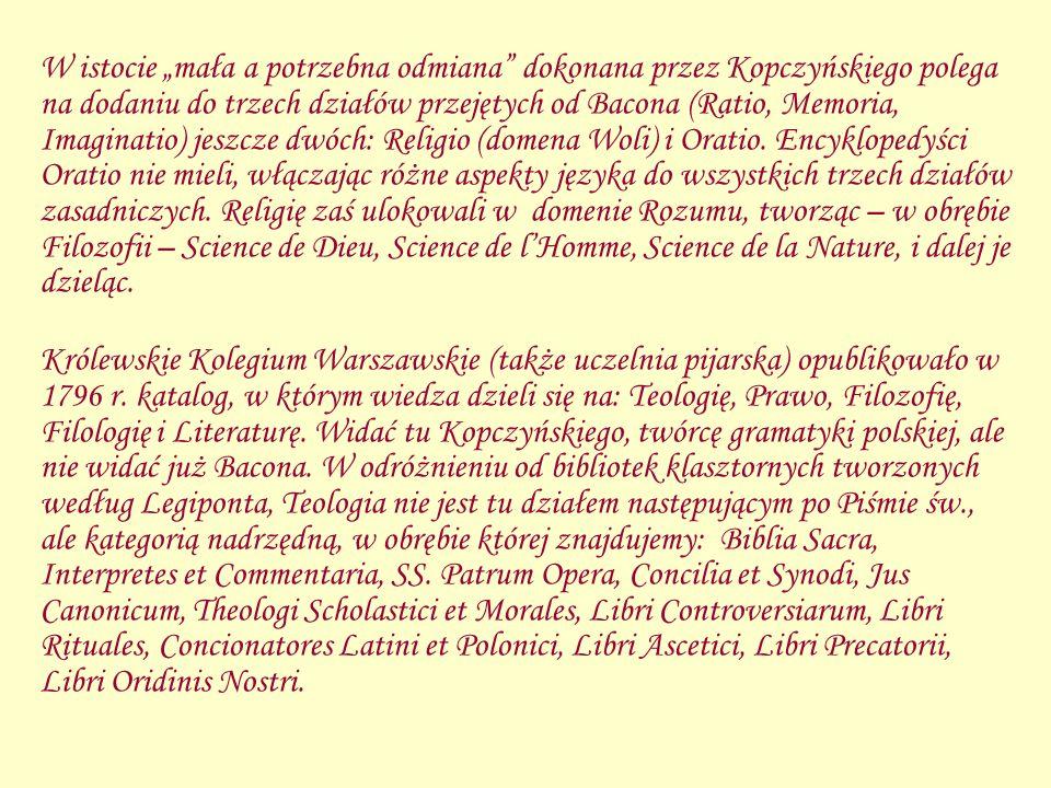 W istocie mała a potrzebna odmiana dokonana przez Kopczyńskiego polega na dodaniu do trzech działów przejętych od Bacona (Ratio, Memoria, Imaginatio)