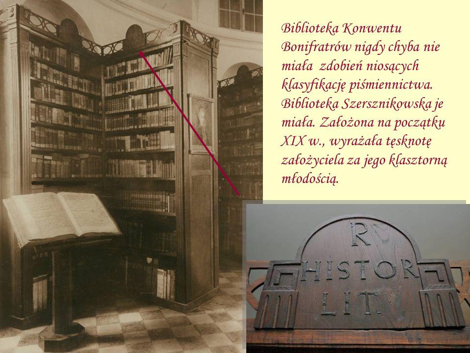 Biblioteka Konwentu Bonifratrów nigdy chyba nie miała zdobień niosących klasyfikację piśmiennictwa. Biblioteka Szersznikowska je miała. Założona na po