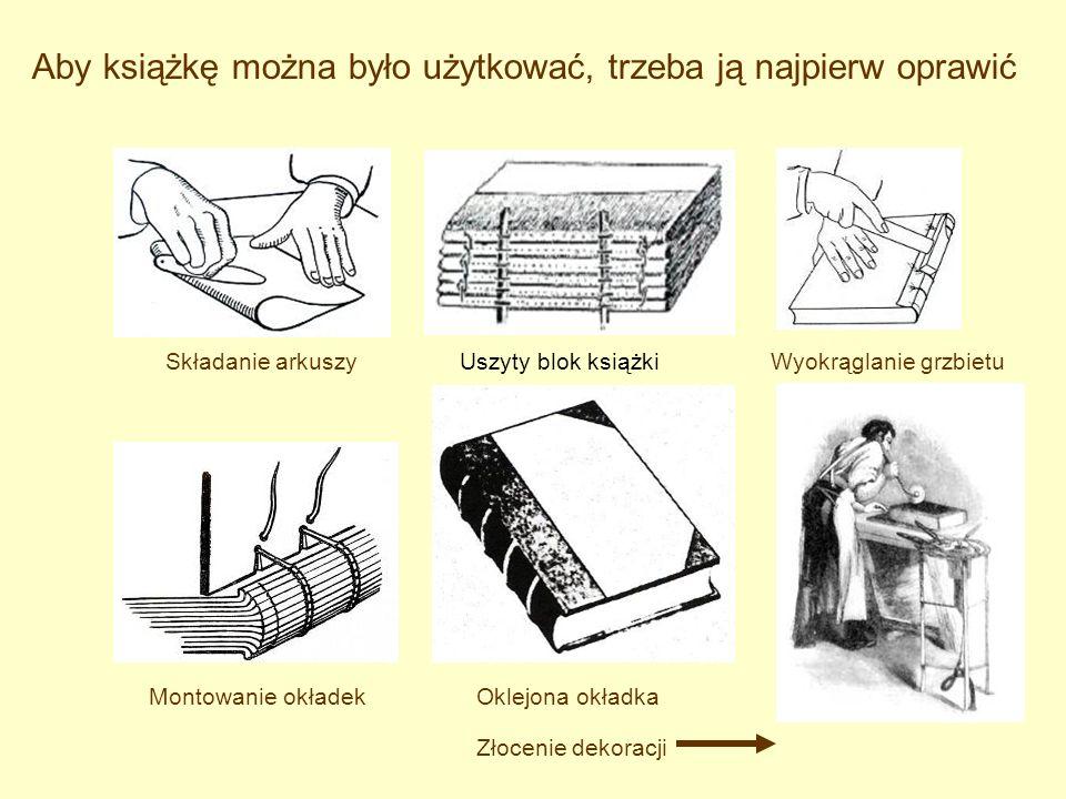 Aby książkę można było użytkować, trzeba ją najpierw oprawić Składanie arkuszyUszyty blok książkiWyokrąglanie grzbietu Montowanie okładekOklejona okła