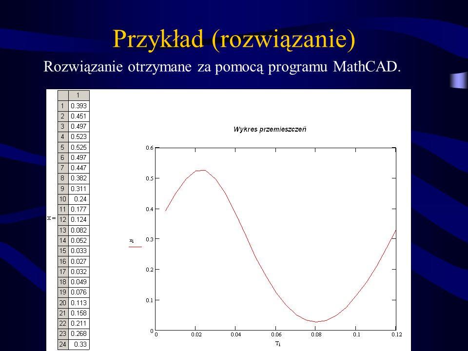 Przykład (rozwiązanie) Rozwiązanie otrzymane za pomocą programu MathCAD.