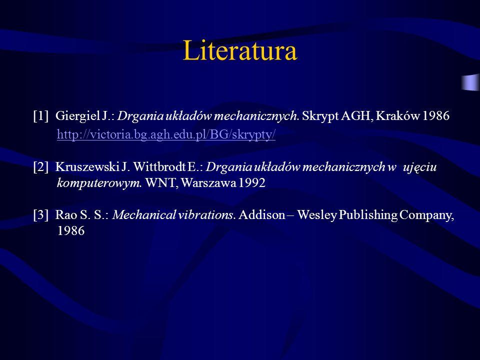 Literatura [1] Giergiel J.: Drgania układów mechanicznych. Skrypt AGH, Kraków 1986 http://victoria.bg.agh.edu.pl/BG/skrypty/ [2] Kruszewski J. Wittbro