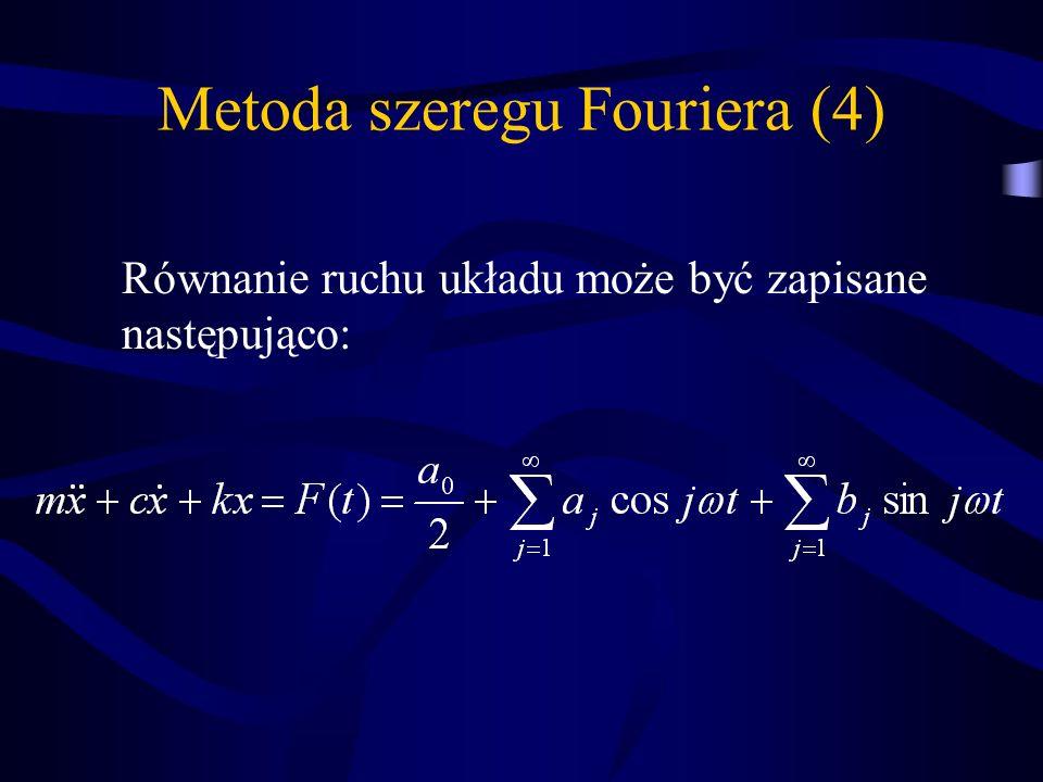 Metoda szeregu Fouriera (4) Równanie ruchu układu może być zapisane następująco: