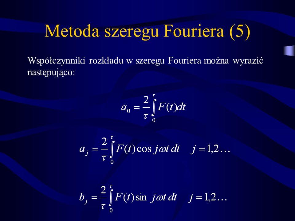 Metoda szeregu Fouriera (5) Współczynniki rozkładu w szeregu Fouriera można wyrazić następująco: