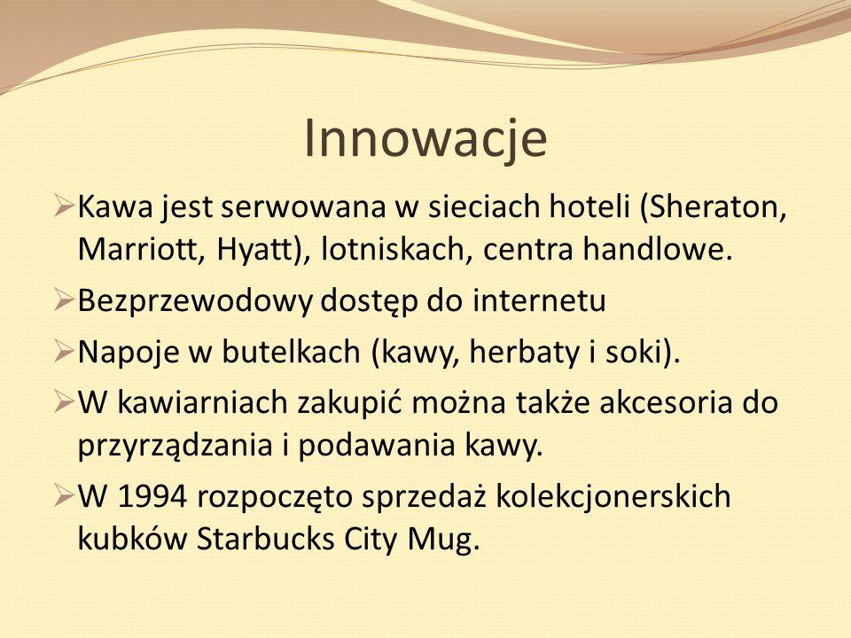 Innowacje Kawa jest serwowana w sieciach hoteli (Sheraton, Marriott, Hyatt), lotniskach, centra handlowe. Bezprzewodowy dostęp do internetu Napoje w b