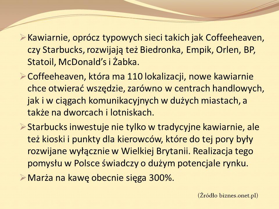 Kawiarnie, oprócz typowych sieci takich jak Coffeeheaven, czy Starbucks, rozwijają też Biedronka, Empik, Orlen, BP, Statoil, McDonalds i Żabka. Coffee
