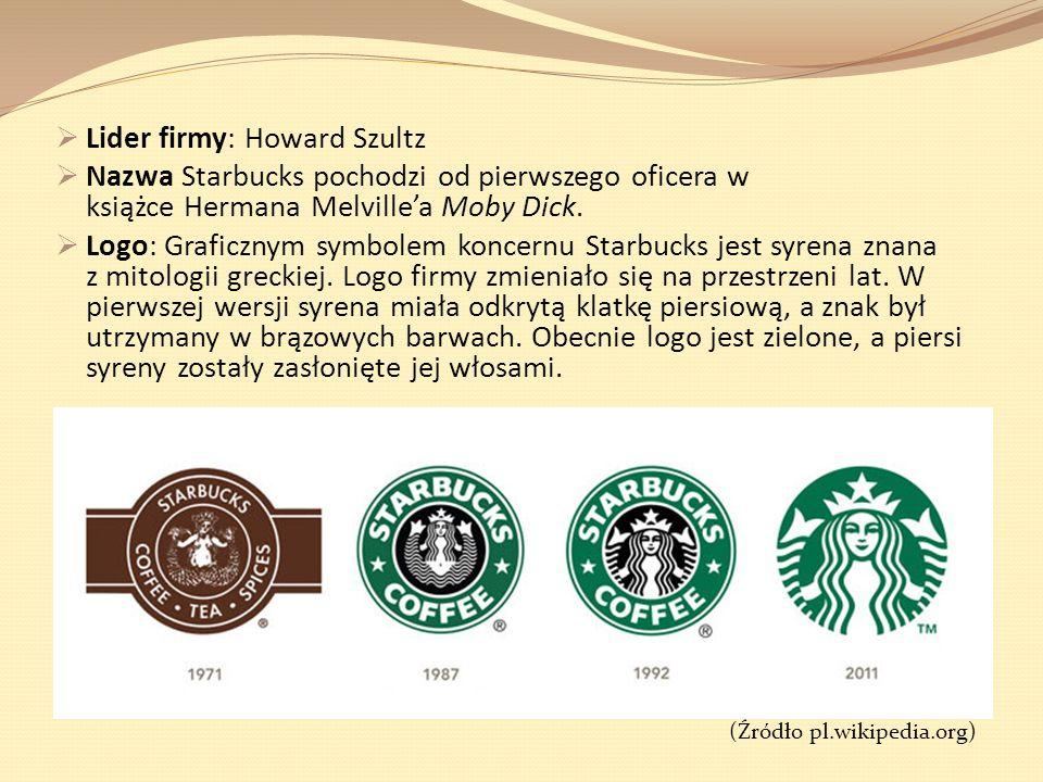 Lider firmy: Howard Szultz Nazwa Starbucks pochodzi od pierwszego oficera w książce Hermana Melvillea Moby Dick. Logo: Graficznym symbolem koncernu St