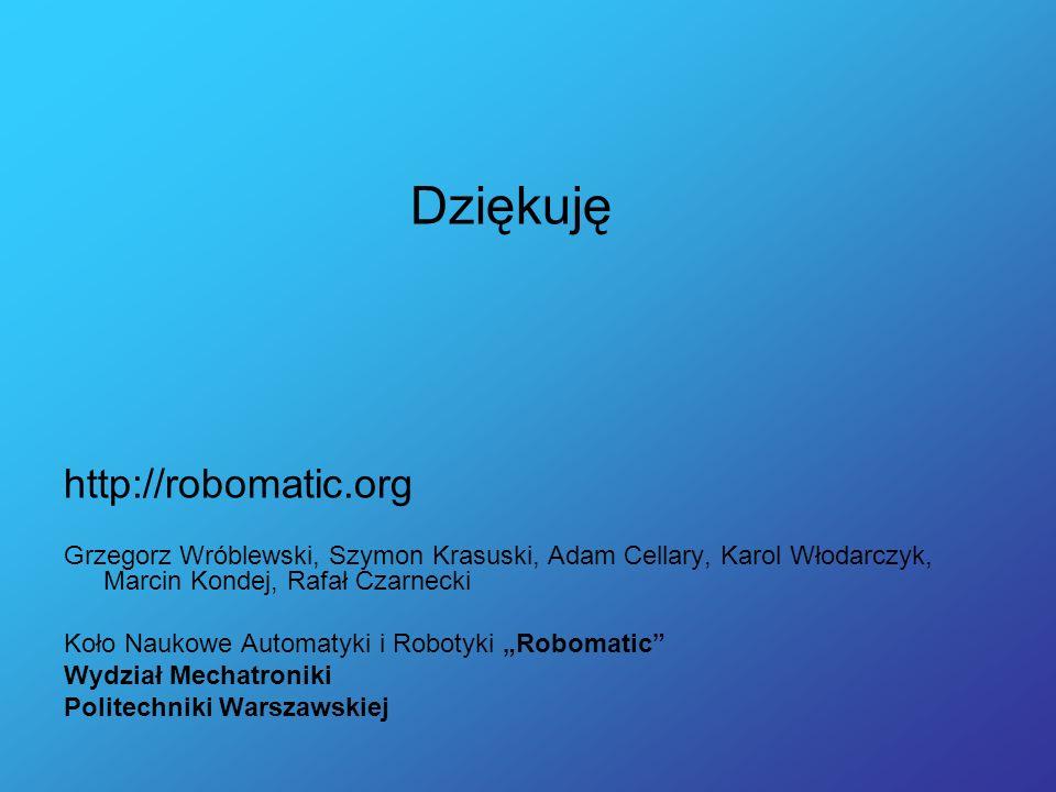 Dziękuję http://robomatic.org Grzegorz Wróblewski, Szymon Krasuski, Adam Cellary, Karol Włodarczyk, Marcin Kondej, Rafał Czarnecki Koło Naukowe Automa