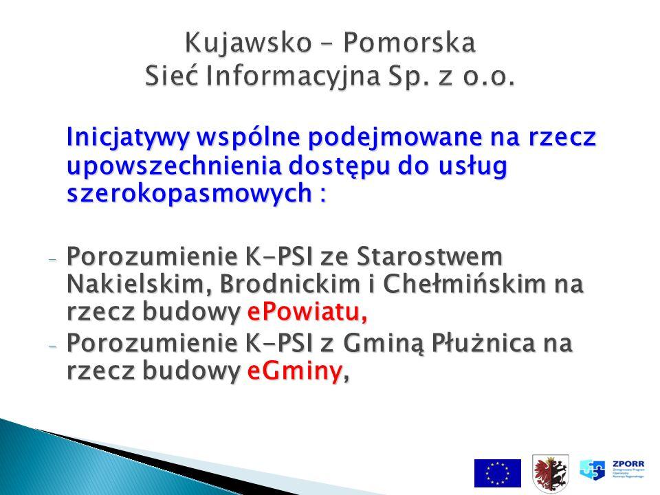 Inicjatywy wspólne podejmowane na rzecz upowszechnienia dostępu do usług szerokopasmowych : - Porozumienie K-PSI ze Starostwem Nakielskim, Brodnickim i Chełmińskim na rzecz budowy ePowiatu, - Porozumienie K-PSI z Gminą Płużnica na rzecz budowy eGminy, Kujawsko – Pomorska Sieć Informacyjna Sp.