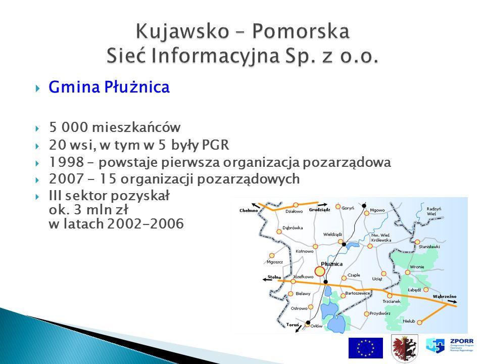 Gmina Płużnica 5 000 mieszkańców 20 wsi, w tym w 5 były PGR 1998 – powstaje pierwsza organizacja pozarządowa 2007 - 15 organizacji pozarządowych III sektor pozyskał ok.