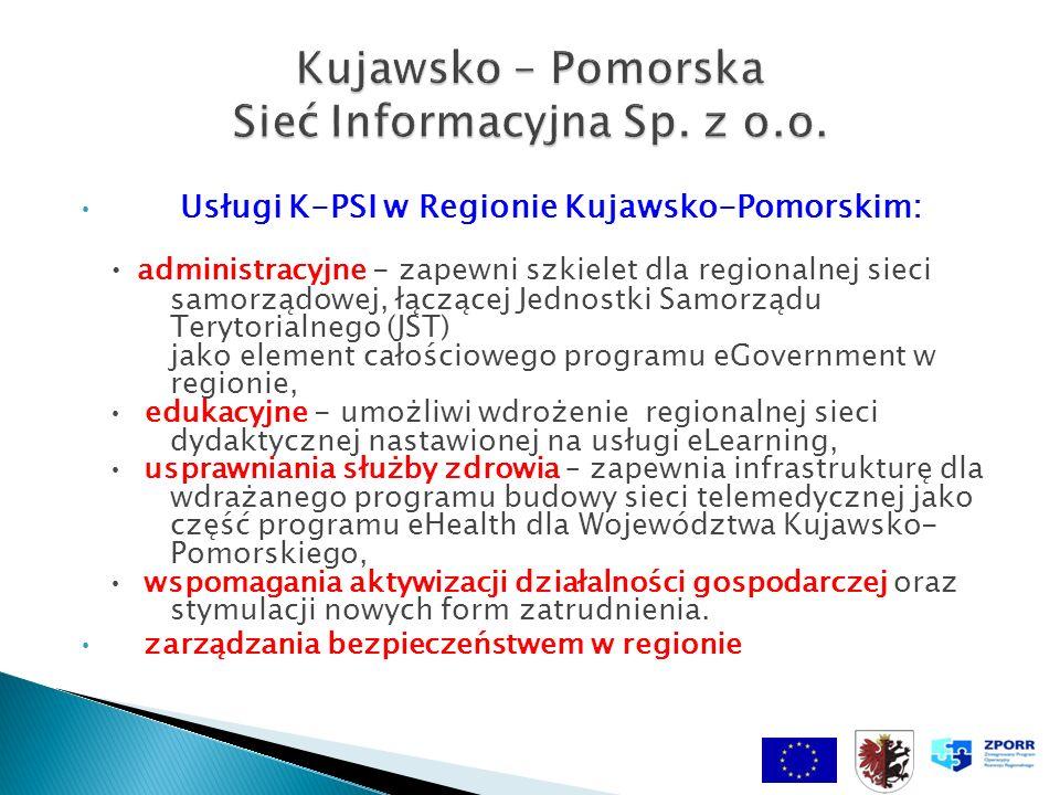 Usługi K-PSI w Regionie Kujawsko-Pomorskim: administracyjne - zapewni szkielet dla regionalnej sieci samorządowej, łączącej Jednostki Samorządu Terytorialnego (JST) jako element całościowego programu eGovernment w regionie, edukacyjne - umożliwi wdrożenie regionalnej sieci dydaktycznej nastawionej na usługi eLearning, usprawniania służby zdrowia – zapewnia infrastrukturę dla wdrażanego programu budowy sieci telemedycznej jako część programu eHealth dla Województwa Kujawsko- Pomorskiego, wspomagania aktywizacji działalności gospodarczej oraz stymulacji nowych form zatrudnienia.