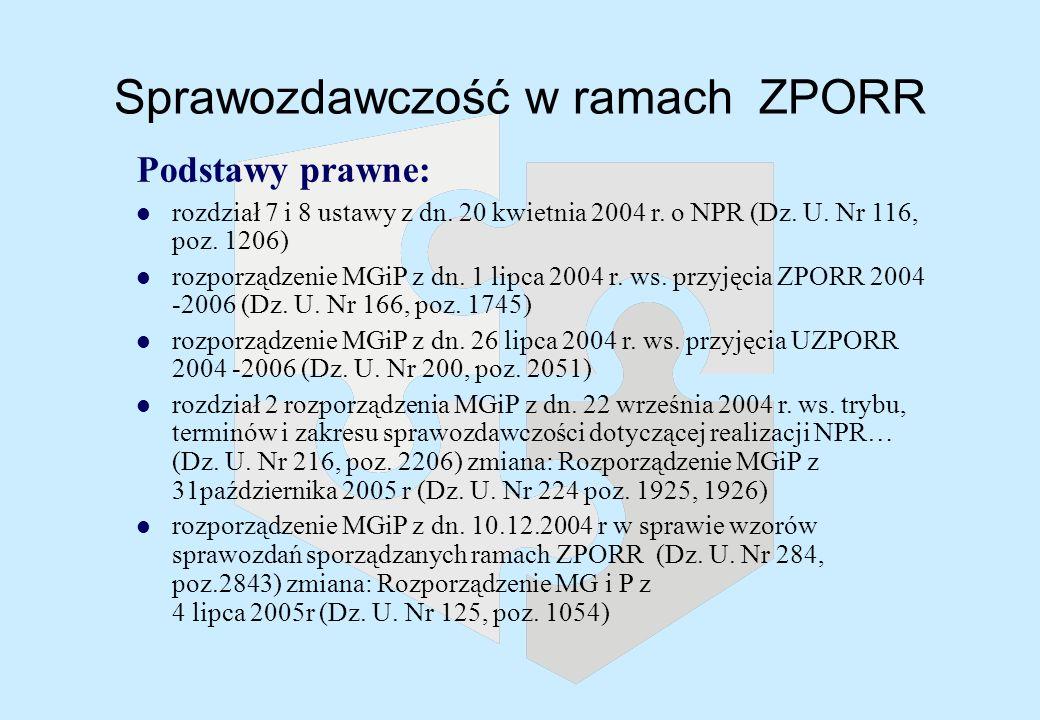 Sprawozdawczość w ramach ZPORR Podstawy prawne: l rozdział 7 i 8 ustawy z dn.