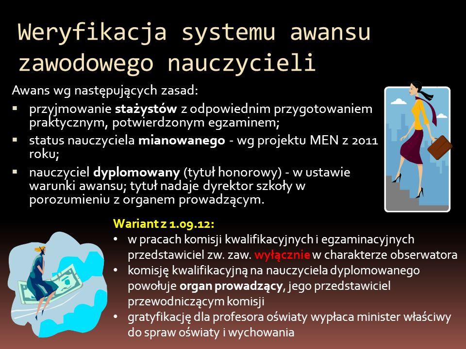 Weryfikacja systemu awansu zawodowego nauczycieli Awans wg następujących zasad: przyjmowanie stażystów z odpowiednim przygotowaniem praktycznym, potwi