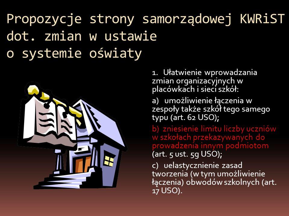 Propozycje strony samorządowej KWRiST dot. zmian w ustawie o systemie oświaty 1. Ułatwienie wprowadzania zmian organizacyjnych w placówkach i sieci sz