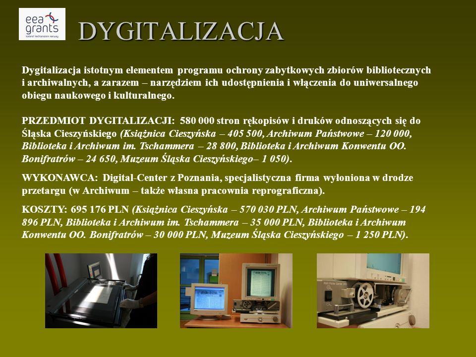 DYGITALIZACJA Dygitalizacja istotnym elementem programu ochrony zabytkowych zbiorów bibliotecznych i archiwalnych, a zarazem – narzędziem ich udostępnienia i włączenia do uniwersalnego obiegu naukowego i kulturalnego.