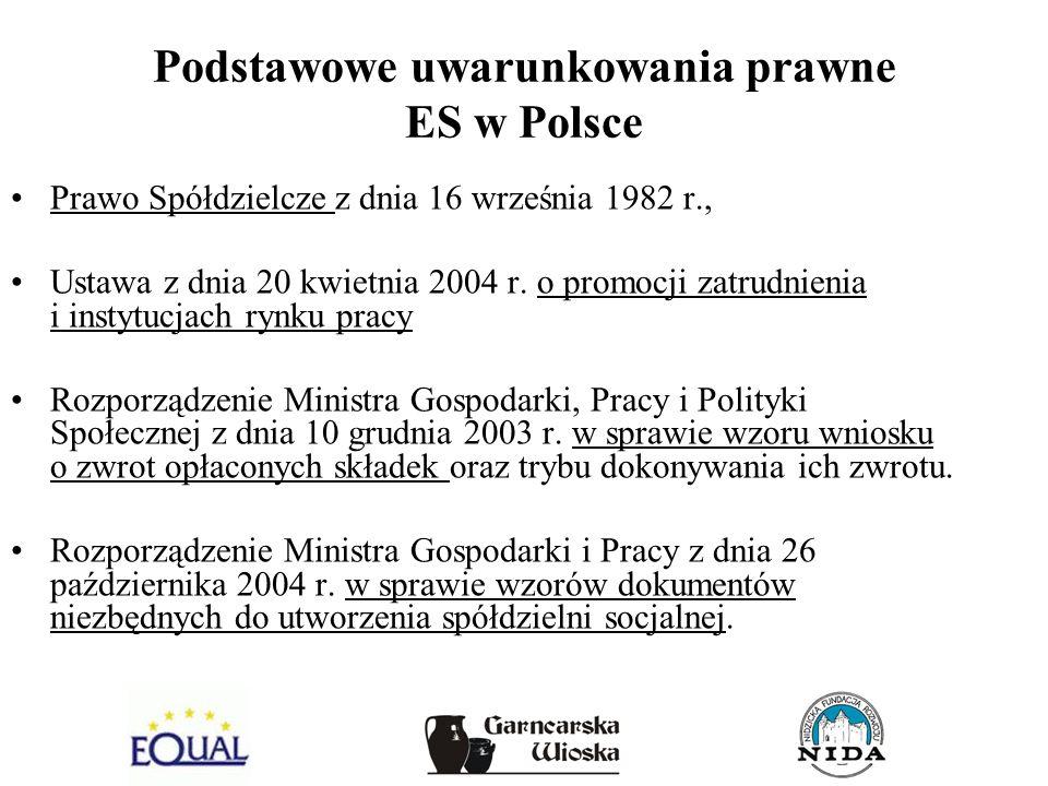 Podstawowe uwarunkowania prawne ES w Polsce Prawo Spółdzielcze z dnia 16 września 1982 r., Ustawa z dnia 20 kwietnia 2004 r. o promocji zatrudnienia i