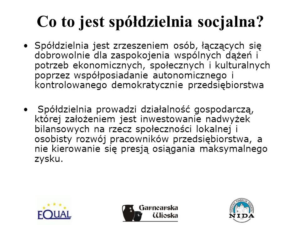 Co to jest spółdzielnia socjalna? Spółdzielnia jest zrzeszeniem osób, łączących się dobrowolnie dla zaspokojenia wspólnych dążeń i potrzeb ekonomiczny