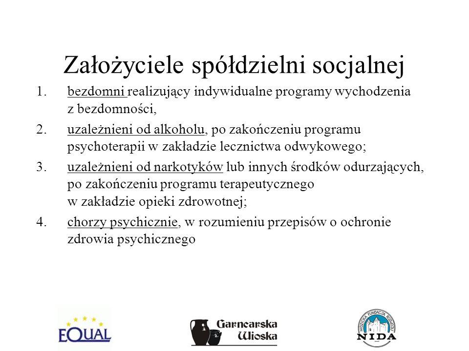 Założyciele spółdzielni socjalnej 1.bezdomni realizujący indywidualne programy wychodzenia z bezdomności, 2.uzależnieni od alkoholu, po zakończeniu pr