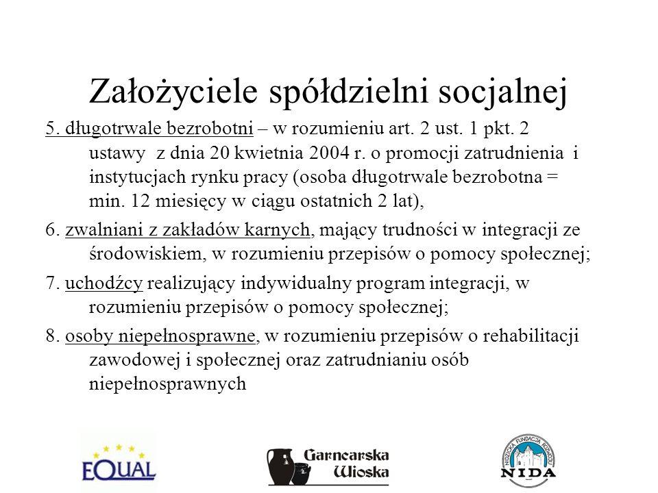 Założyciele spółdzielni socjalnej 5. długotrwale bezrobotni – w rozumieniu art. 2 ust. 1 pkt. 2 ustawy z dnia 20 kwietnia 2004 r. o promocji zatrudnie