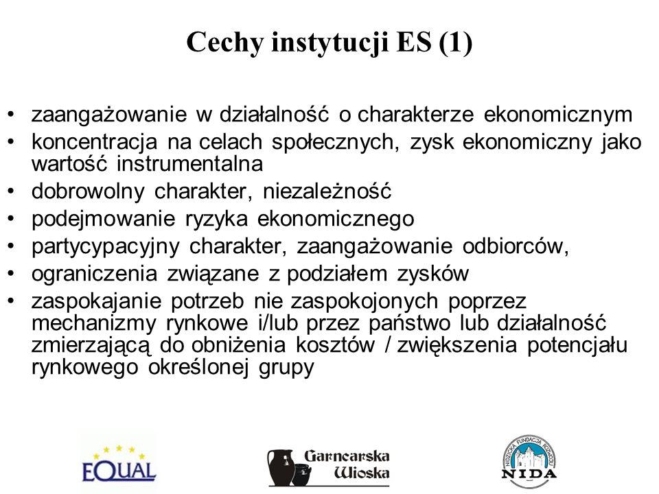 Cechy instytucji ES (1) zaangażowanie w działalność o charakterze ekonomicznym koncentracja na celach społecznych, zysk ekonomiczny jako wartość instr
