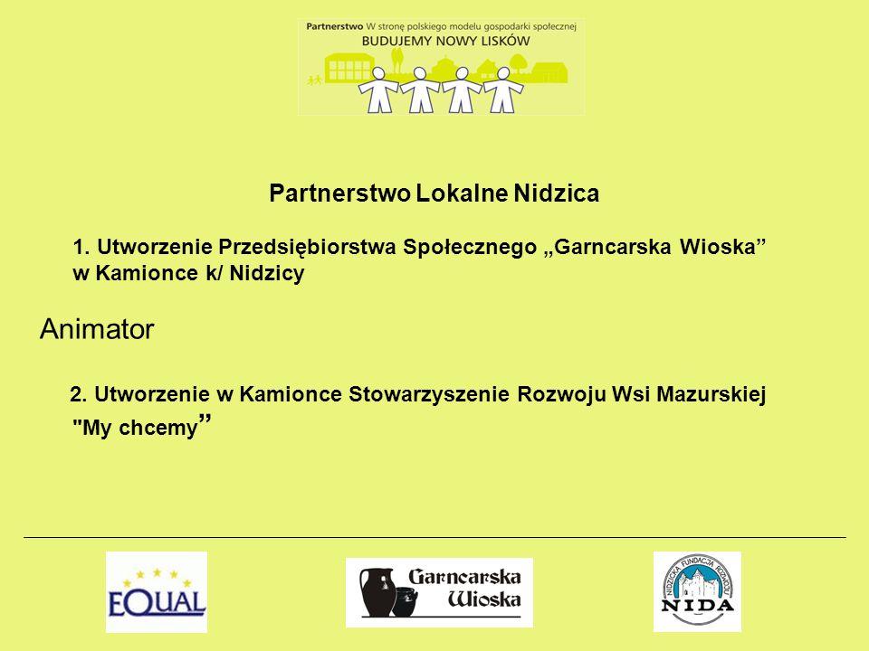 Partnerstwo Lokalne Nidzica 1. Utworzenie Przedsiębiorstwa Społecznego Garncarska Wioska w Kamionce k/ Nidzicy Animator 2. Utworzenie w Kamionce Stowa