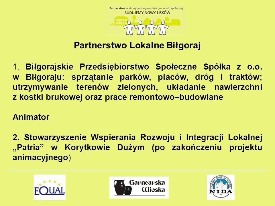 Partnerstwo Lokalne Biłgoraj 1. Biłgorajskie Przedsiębiorstwo Społeczne Spółka z o.o. w Biłgoraju: sprzątanie parków, placów, dróg i traktów; utrzymyw