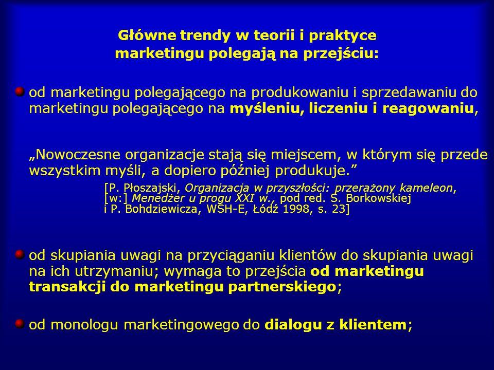 Główne trendy w teorii i praktyce marketingu polegają na przejściu: od marketingu polegającego na produkowaniu i sprzedawaniu do marketingu polegające