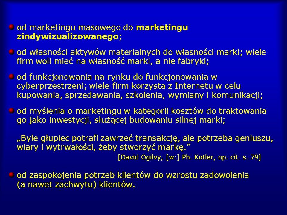od marketingu masowego do marketingu zindywizualizowanego; od własności aktywów materialnych do własności marki; wiele firm woli mieć na własność mark