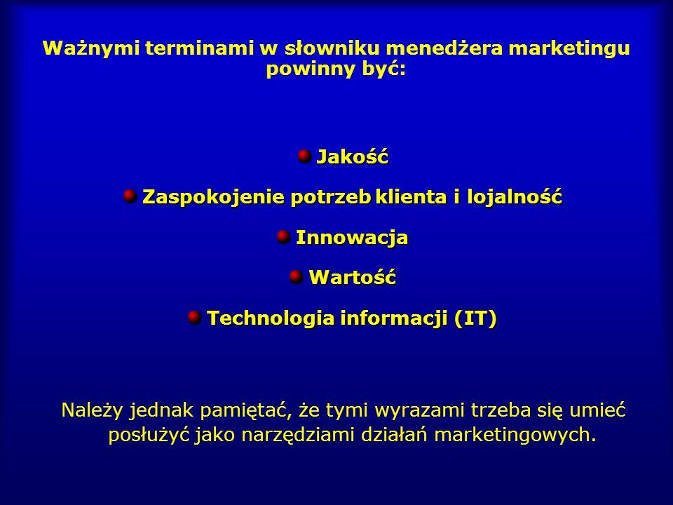 Ważnymi terminami w słowniku menedżera marketingu powinny być:Jakość Zaspokojenie potrzeb klienta i lojalność InnowacjaWartość Technologia informacji