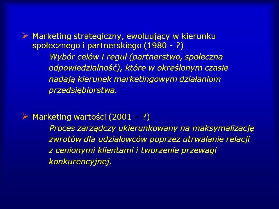 Marketing strategiczny, ewoluujący w kierunku społecznego i partnerskiego (1980 - ?) Wybór celów i reguł (partnerstwo, społeczna odpowiedzialność), kt