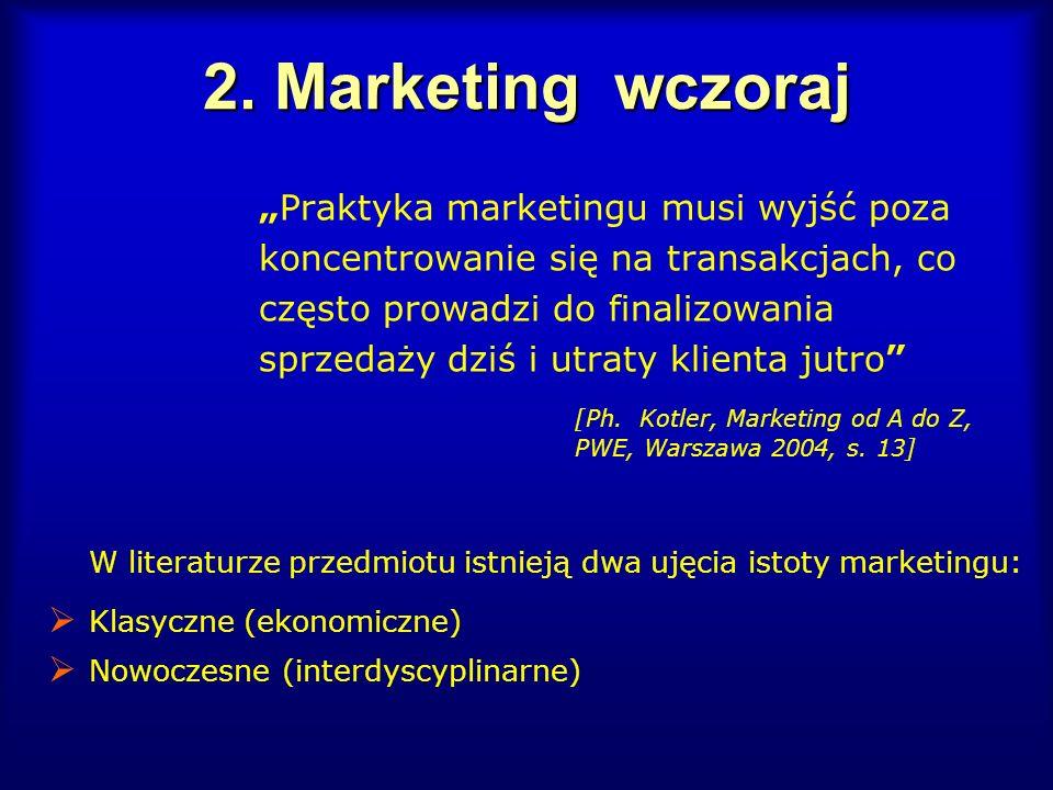 2. Marketing wczoraj Praktyka marketingu musi wyjść poza koncentrowanie się na transakcjach, co często prowadzi do finalizowania sprzedaży dziś i utra