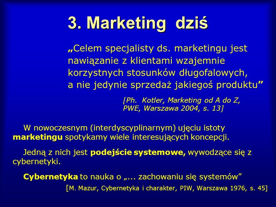 3. Marketing dziś Celem specjalisty ds. marketingu jest nawiązanie z klientami wzajemnie korzystnych stosunków długofalowych, a nie jedynie sprzedaż j