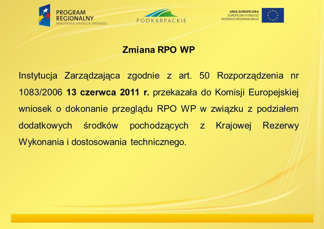 Zmiana RPO WP Instytucja Zarządzająca zgodnie z art. 50 Rozporządzenia nr 1083/2006 13 czerwca 2011 r. przekazała do Komisji Europejskiej wniosek o do