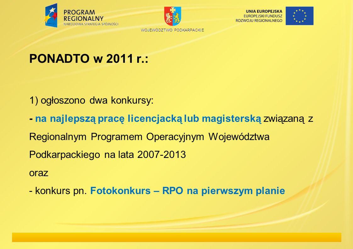 PONADTO w 2011 r.: 1) ogłoszono dwa konkursy: - na najlepszą pracę licencjacką lub magisterską związaną z Regionalnym Programem Operacyjnym Województw