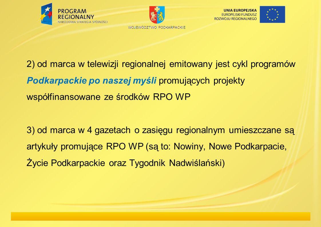 2) od marca w telewizji regionalnej emitowany jest cykl programów Podkarpackie po naszej myśli promujących projekty współfinansowane ze środków RPO WP