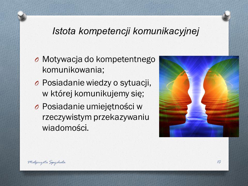 O Motywacja do kompetentnego komunikowania; O Posiadanie wiedzy o sytuacji, w której komunikujemy się; O Posiadanie umiejętności w rzeczywistym przeka