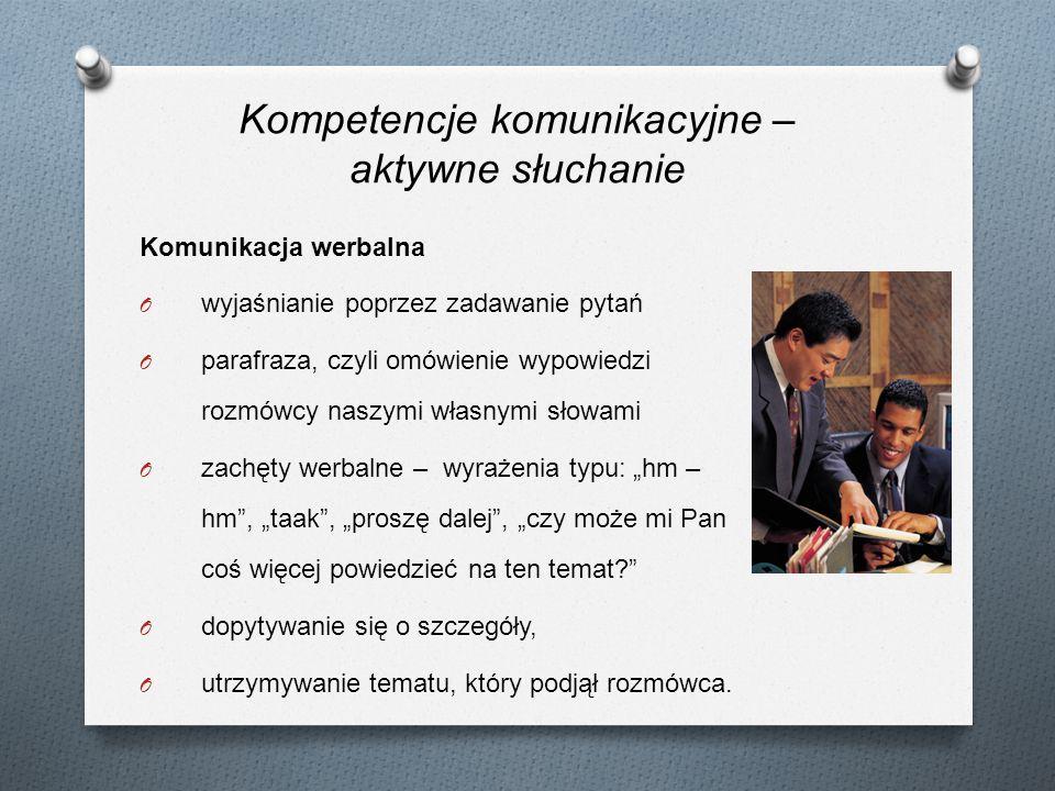 Komunikacja werbalna O wyjaśnianie poprzez zadawanie pytań O parafraza, czyli omówienie wypowiedzi rozmówcy naszymi własnymi słowami O zachęty werbaln