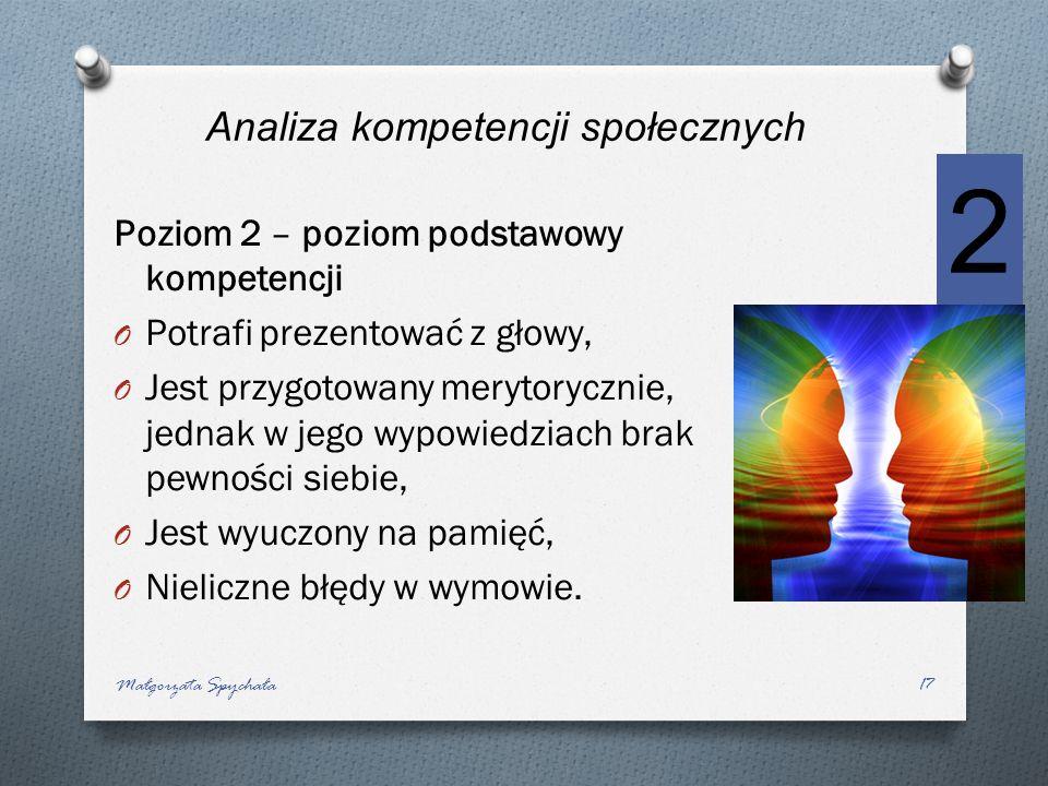 Poziom 2 – poziom podstawowy kompetencji O Potrafi prezentować z głowy, O Jest przygotowany merytorycznie, jednak w jego wypowiedziach brak pewności s