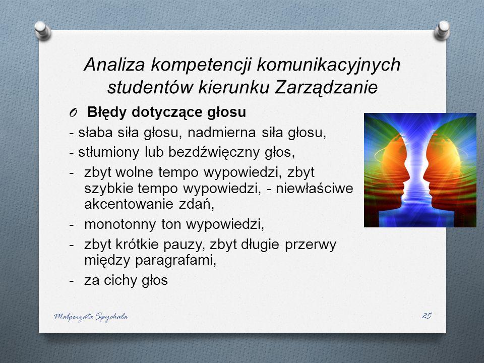 Małgorzata Spychała25 O Błędy dotyczące głosu - słaba siła głosu, nadmierna siła głosu, - stłumiony lub bezdźwięczny głos, -zbyt wolne tempo wypowiedz