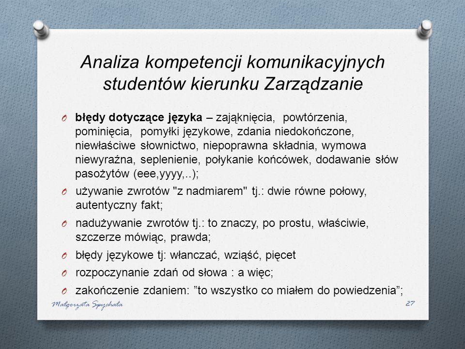 O błędy dotyczące języka – zająknięcia, powtórzenia, pominięcia, pomyłki językowe, zdania niedokończone, niewłaściwe słownictwo, niepoprawna składnia,