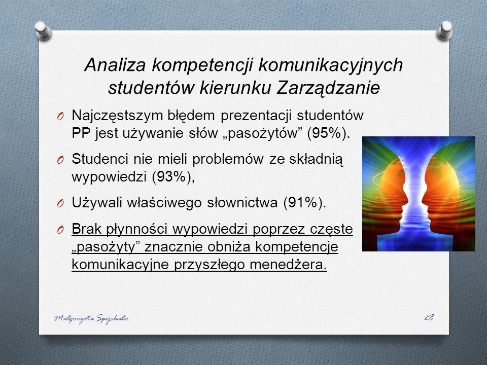 O Najczęstszym błędem prezentacji studentów PP jest używanie słów pasożytów (95%). O Studenci nie mieli problemów ze składnią wypowiedzi (93%), O Używ