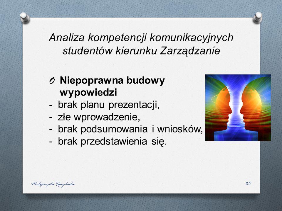 Małgorzata Spychała30 Analiza kompetencji komunikacyjnych studentów kierunku Zarządzanie O Niepoprawna budowy wypowiedzi -brak planu prezentacji, -złe