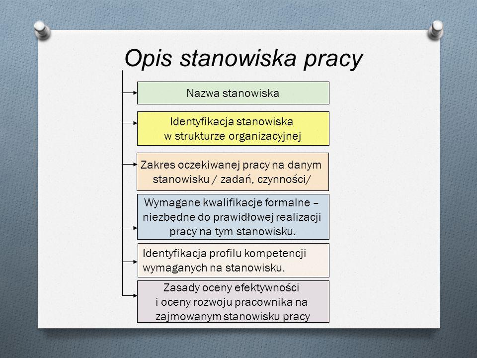 Nazwa stanowiska Identyfikacja stanowiska w strukturze organizacyjnej Zakres oczekiwanej pracy na danym stanowisku / zadań, czynności/ Wymagane kwalif