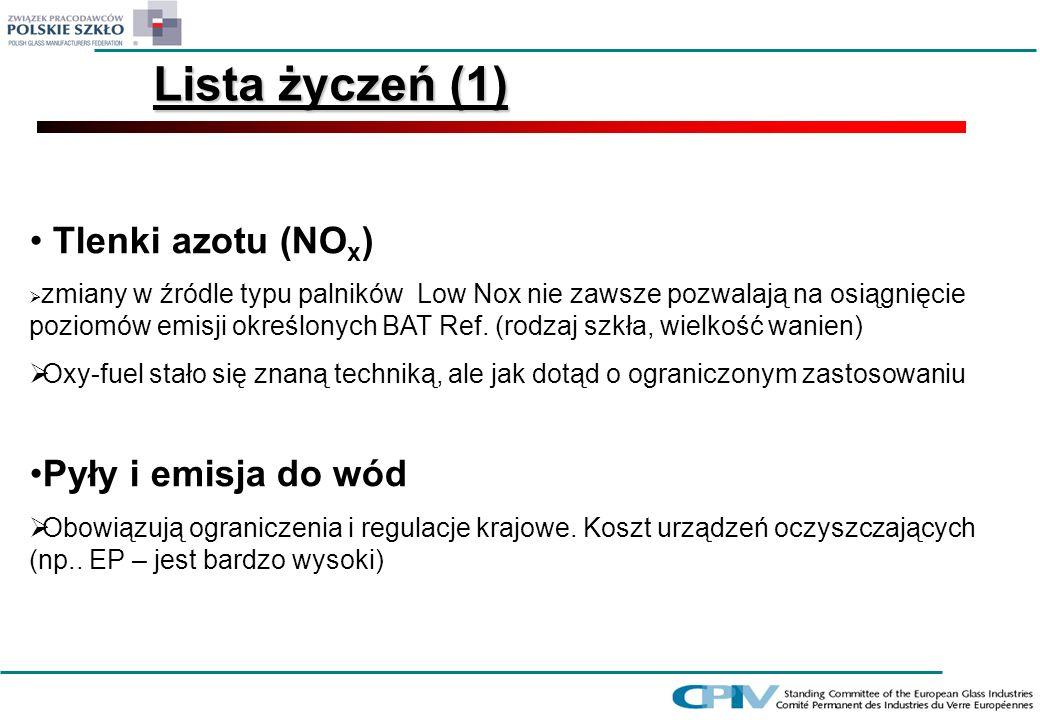 Tlenki azotu (NO x ) zmiany w źródle typu palników Low Nox nie zawsze pozwalają na osiągnięcie poziomów emisji określonych BAT Ref. (rodzaj szkła, wie