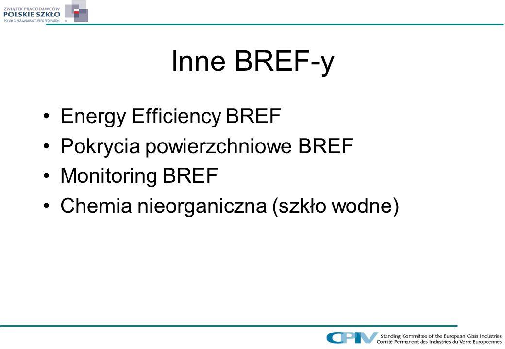 Inne BREF-y Energy Efficiency BREF Pokrycia powierzchniowe BREF Monitoring BREF Chemia nieorganiczna (szkło wodne)