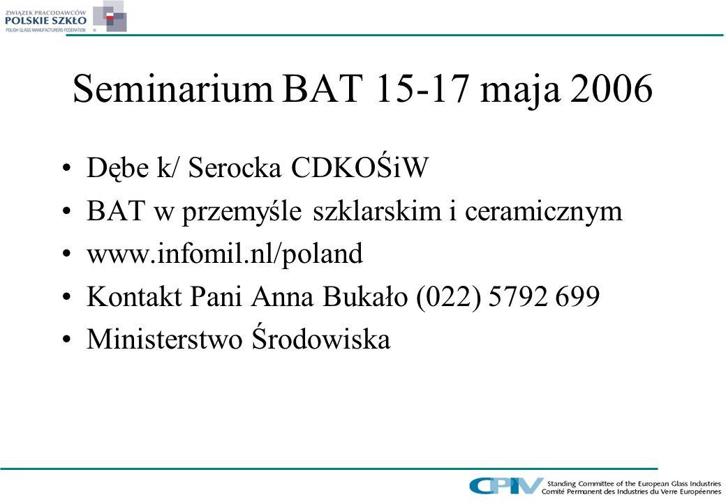 Seminarium BAT 15-17 maja 2006 Dębe k/ Serocka CDKOŚiW BAT w przemyśle szklarskim i ceramicznym www.infomil.nl/poland Kontakt Pani Anna Bukało (022) 5