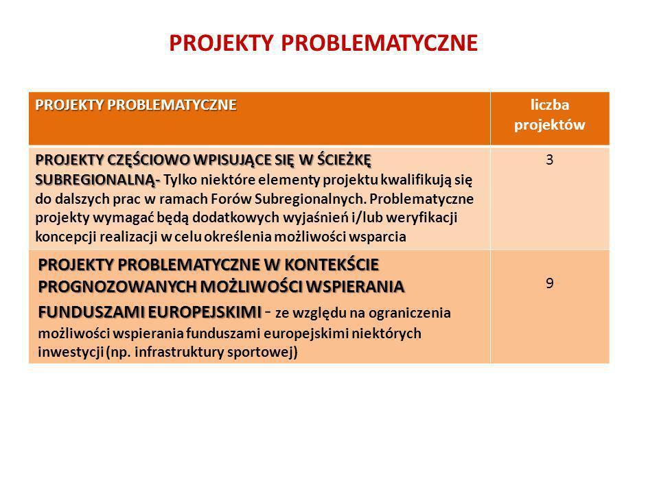 PROJEKTY PROBLEMATYCZNE liczba projektów PROJEKTY CZĘŚCIOWO WPISUJĄCE SIĘ W ŚCIEŻKĘ SUBREGIONALNĄ- PROJEKTY CZĘŚCIOWO WPISUJĄCE SIĘ W ŚCIEŻKĘ SUBREGIO