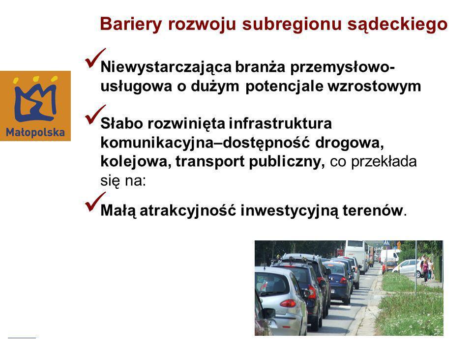 Bariery rozwoju subregionu sądeckiego Niewystarczająca branża przemysłowo- usługowa o dużym potencjale wzrostowym Słabo rozwinięta infrastruktura komu
