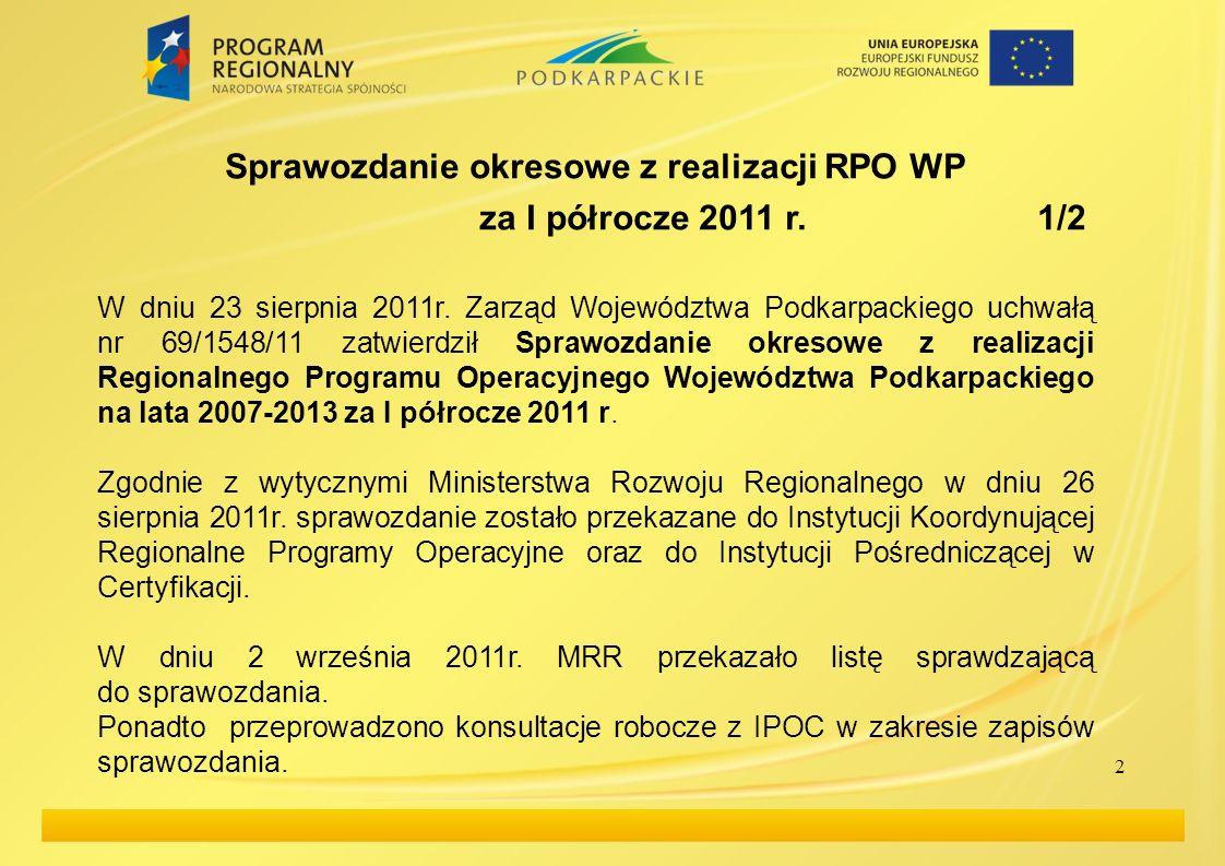 Projekty kluczowe W dniu 13 września 2011r.