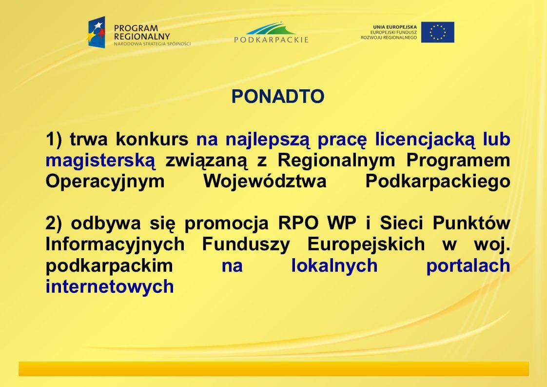 PONADTO 1) trwa konkurs na najlepszą pracę licencjacką lub magisterską związaną z Regionalnym Programem Operacyjnym Województwa Podkarpackiego 2) odbywa się promocja RPO WP i Sieci Punktów Informacyjnych Funduszy Europejskich w woj.